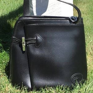Longchamp Black Leather Crossbody Bag